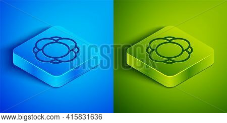 Isometric Line Molecule Icon Isolated On Blue And Green Background. Structure Of Molecules In Chemis