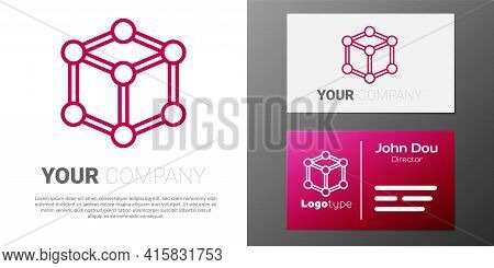 Logotype Line Molecule Icon Isolated On White Background. Structure Of Molecules In Chemistry, Scien