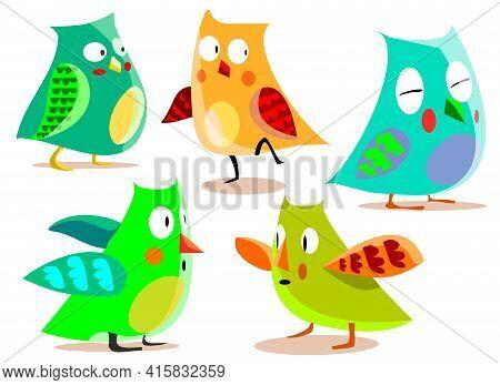 Cute Owls. Colorful Friendly Owl, Birthday Kids Shower Stickers. Funny Animal Joyful Forest Or Zoo B