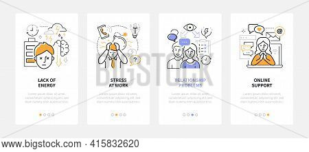 Psychological Problems - Modern Line Design Style Web Banners