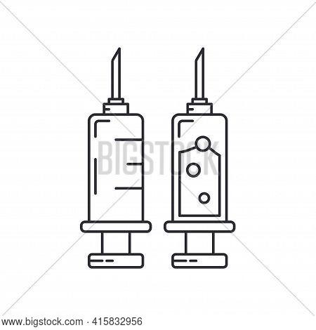Line Medical Healthcare Icon Set - Syringe. Professional Equipment Symbol. Science, Pharmacy, Medic,