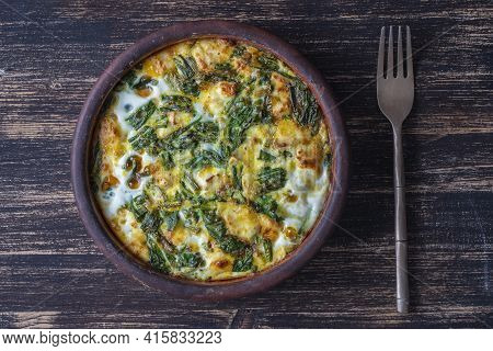 Ceramic Bowl With Vegetable Frittata, Simple Vegetarian Food. Frittata With Egg, Pepper, Onion, Chee
