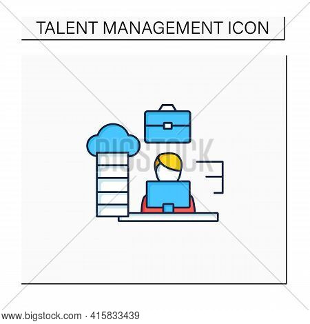 Career Path Color Icon. Workforce Development Strategy.self-improvement, Career Growth. Employee Wor
