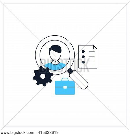 Applicant Tracking Flat Icon.software App Automates Hiring Process. Candidate Management System. Fin