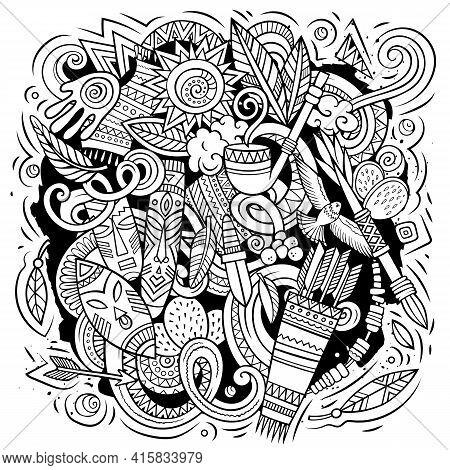 Native American Cartoon Vector Doodle Design