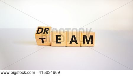 Dream Team Symbol. Turned The Cube And Changed The Word 'dream' To 'team'. Beautiful White Table, Wh