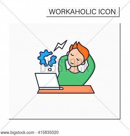 Workaholic Color Icon. Counterproductive Behaviour. Rest On Workplace. Man Relax, Dont Think About W
