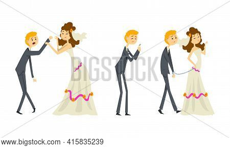 Couple Of Newlyweds Set, Funny Weak Groom Character Dominated By Bride Cartoon Vector Illustration