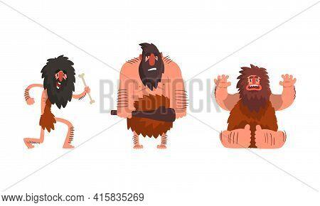 Primitive Caveman Characters Set, Funny Stone Age Archaic Men Cartoon Vector Illustration