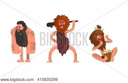 Primitive Caveman Characters Set, Funny Stone Age Archaic Men Dressed In Animal Skin Cartoon Vector