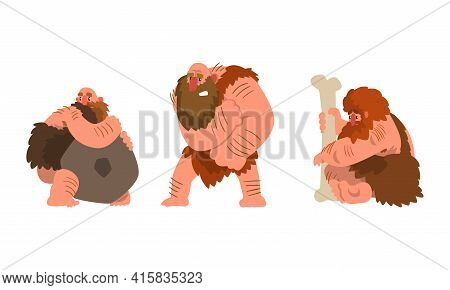 Caveman Characters Set, Funny Primitive Muscular Stone Age Men Cartoon Vector Illustration