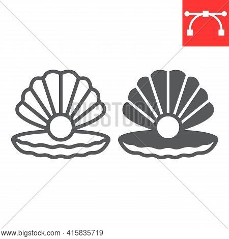 Seashell With Pearl Line And Glyph Icon, Shell And Ocean Animals, Open Seashell Vector Icon, Vector