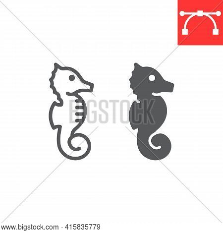 Seahorse Line And Glyph Icon, Sea And Ocean Animals, Sea Horse Vector Icon, Vector Graphics, Editabl
