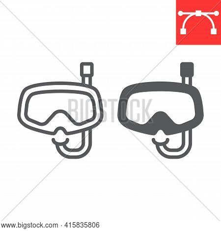 Diving Mask Line And Glyph Icon, Scuba Galsses And Ocean, Dive Mask Vector Icon, Vector Graphics, Ed