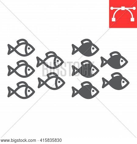 Group Of Sea Fishes Line And Glyph Icon, Sea Fish And Ocean Animals, Fishes Vector Icon, Vector Grap