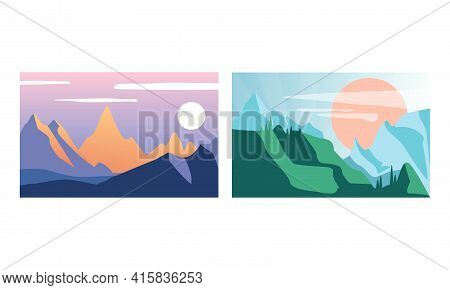 Beautiful Mountain Landscapes Set, Serenity Scenes Of Nature At Sunlight, Poster, Card, Banner Desig
