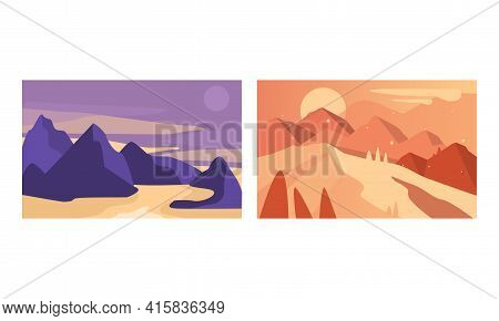 Beautiful Mountain Landscapes Set, Serenity Scenes Of Nature At Sunrise And Sunset, Poster, Card, Ba