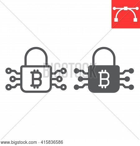 Bitcoin Encryption Line And Glyph Icon, Cryptocurrency And Protection, Bitcoin Padlock Vector Icon,