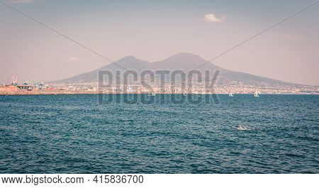 Naples And Mount Vesuvius In The Background, View From The Sea