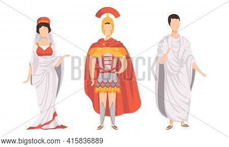 Citizens Of Ancient Rome In Traditional Costumes Set, Legionary, Roman Woman, Plebeian Flat Vector I