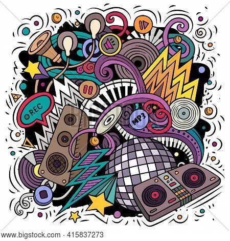 Cartoon Vector Doodles Disco Music Illustration