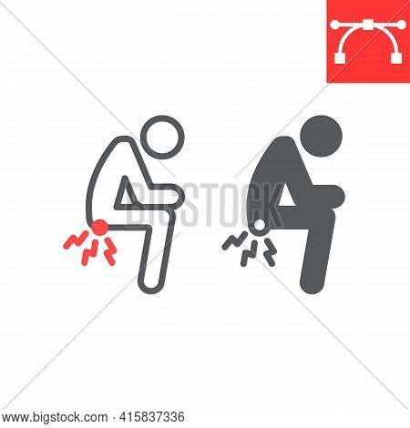 Hemorrhoids Line And Glyph Icon, Anus Pain And Constipation, Hemorrhoid Vector Icon, Vector Graphics
