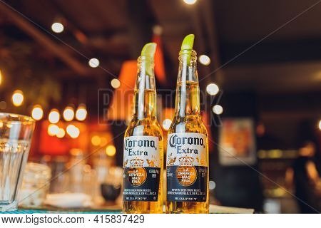 Ufa, Russia - April 23, 2020: Corona Extra, One Of The Top-selling Beers Worldwide Is A Pale Lager P
