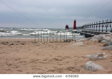 Lake Michigan Beach In Winter