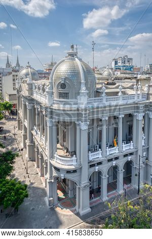 Guayaquil, Guayas, Ecuador - November, 2013: High View Of The Beautiful Municipality Building,  From