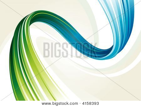 Abstract flowing background of blue and green twisted vector layered. poster