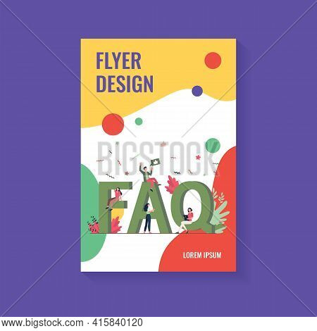 Giant Faq And Tiny People Flat Vector Illustration. Cartoon Users Asking Questions And Getting Help