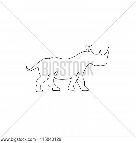 Minimalist One Line Rhinoceros Icon. Line Drawing Animal Tattoo. Rhinoceros One Line Hand Drawing Co