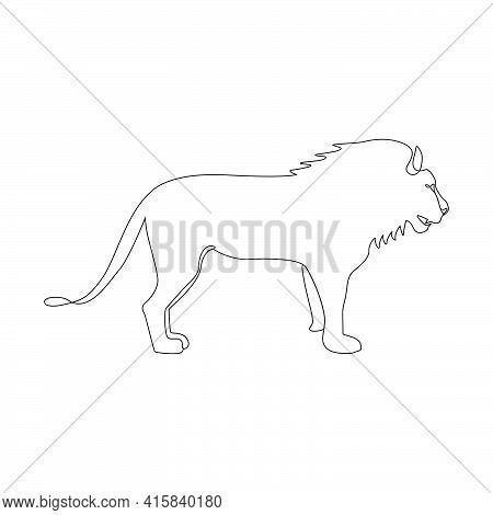 Minimalistic One Line Lion Icon. Male Lion One Line Hand Drawing Continuous Art Print, Vector Illust