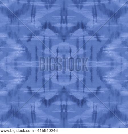 Indigo Tie Dye Texture. Space Traditional Ethnic Ornament. Nautical Paintbrush Spots. Navy Ethnic Wa