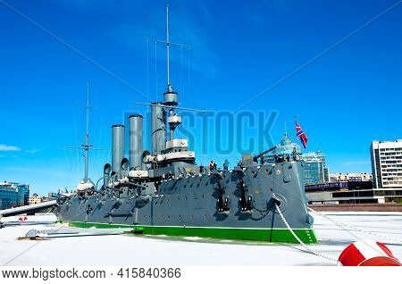 St. Petersburg, Russia - March 27 , 2021: Aurora Cruiser, The Symbol Of The October Revolution, Curr
