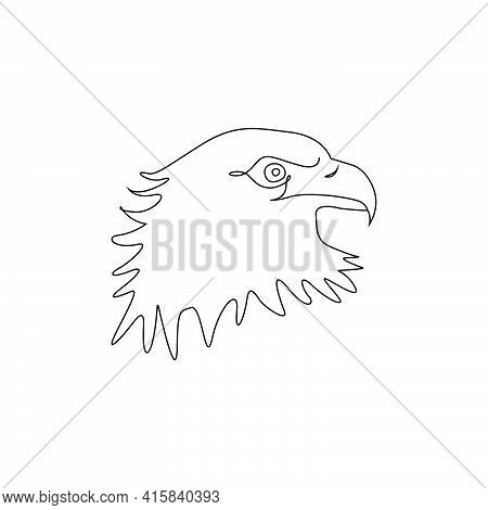 Minimalist One Line Head Of Eagle Icon. Line Drawing Birds Tattoo. Eagle One Line Hand Drawing Conti