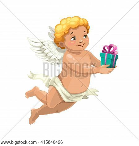 Cupid Angel Vector Character With Valentine Day Or Wedding Gift. Cute Cartoon Amur Or Cherub With An