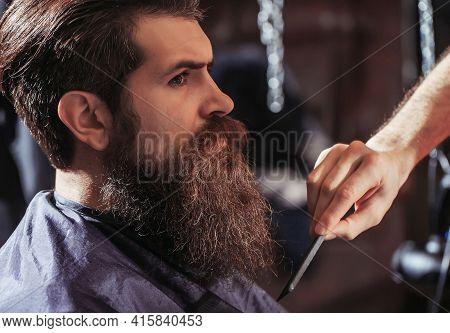 Bearded Man In Barber Shop. Barber Comb. Vintage Barber Shop, Shaving. Portrait Bearded Man. Mustach