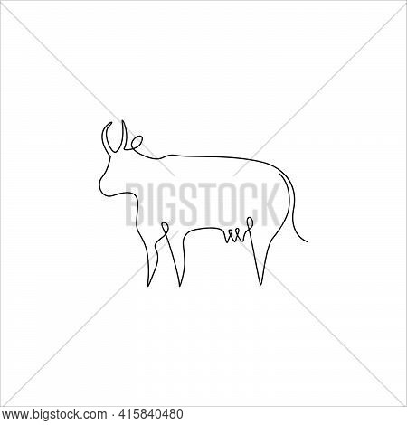 Minimalistic One Line Animals Icon. Line Drawing Cow Tattoo. Farm Animals One Line Hand Drawing Cont