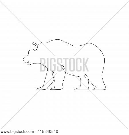 Minimalistic One Line Bear Icon.  Bear One Line Hand Drawing Continuous Art Print, Vector Illustrati