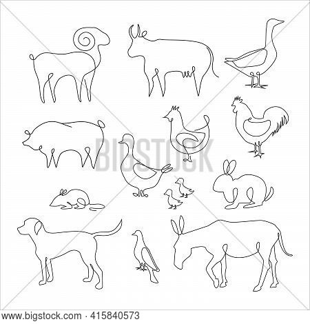 One Line Animals Set. Farm Animals One Line Hand Drawing, Vector Illustration. Line Drawing Of Cow,