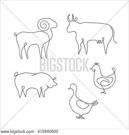 Minimalistic One Line Animals Set. Tattoo. Farm Animals One Line Hand Drawing, Vector Illustration.