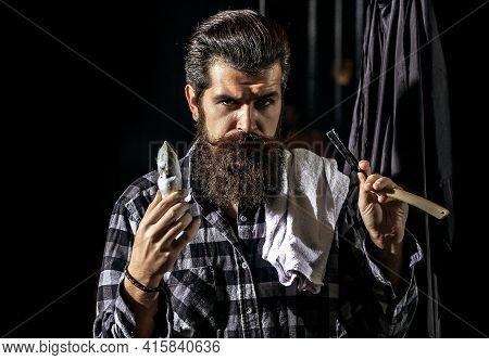 Bearded Man In Barbershop. Barber Scissors And Straight Razor, Barber Shop. Vintage Barber Shop, Sha