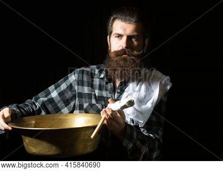Bearded Barber Man In Retro Barber Shop. Vintage Barber. Vintage Barbershop, Shaving. Portrait Beard