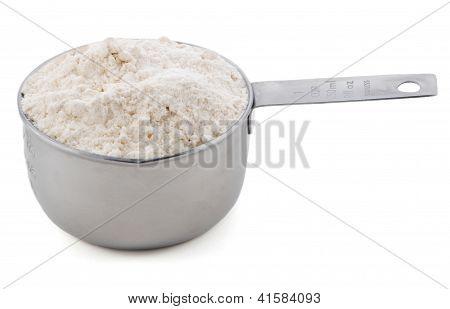 Plain / All Purpose Flour Presented In An American Metal Cup Measure