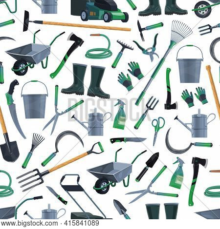 Gardening And Farming Tools Seamless Pattern Background, Vector. Agriculture Garden And Farm Cultiva
