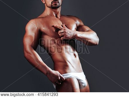 Sexy Man Or Muscular Macho With Muscle Naked Bare Torso, Guy Body In White Panties