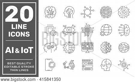 Artificial Intelligence And Iot Line Icons Set. Black Vector Illustration. Editable Stroke. Eps 10