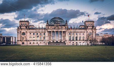 Reichstag Berlin, Seat Of The German Parliament, Bundestag, With Dark Clouds