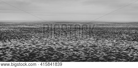 Panorama Of Empty Seashore Tideland, Ebb, No People. Horizon, Close To Cuxhaven, Germany